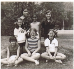 Liz Ostreich and Rachel S.(center w. striped Capezio top) Summer of 1974  at Beaupre Theater and Dance Camp.
